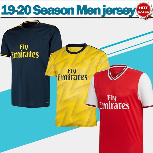 2020 Gunners Início Red futebol Longe amarelo Jerseys 19/20 Terceiro azul profundo League clube Gunners camisas de futebol Homens personalizado Uniforme de futebol