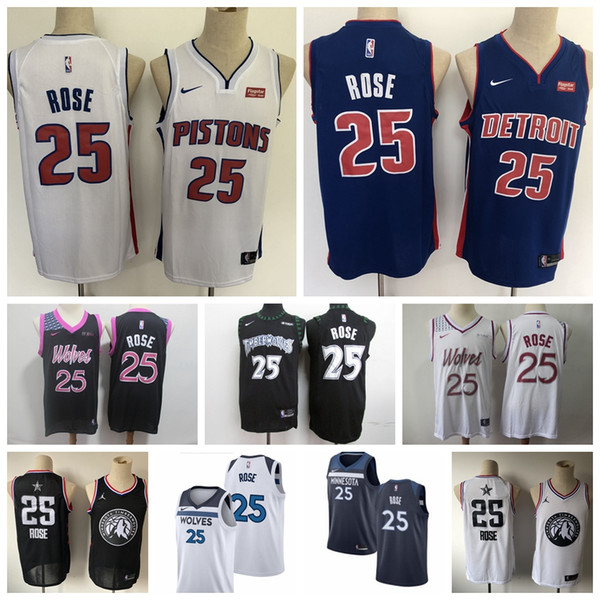 check out 24fdb 26545 2019 2020 New Mens Timberwolves Pistons 25# Derrick Rose Swingman Jersey  Authentic Embroidery Detroit Derrick Rose Pistons Basketball Jersey From ...