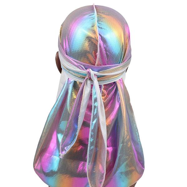 Unisexe brillant soyeux longue queue casquette de Chemo Durag brillante coloré Durags chapeau Turban Bandana Chapeaux Biker Chapeaux Accessoires Headwrap