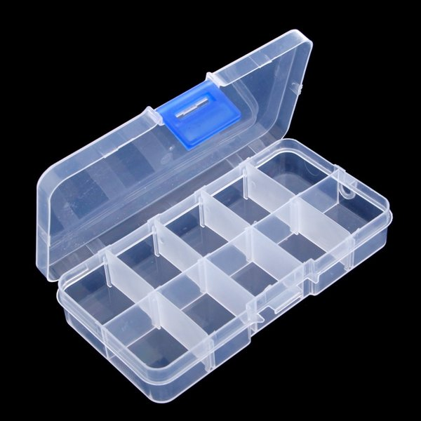 1Pc Fishing Lure Hook Bait Storage Adjustable 10 Compartments Plastic Fishing Tackle Box For Accessories