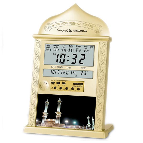 Musulmanes que ruegan Despertadores Azan islámica Tabla reloj Azan 1500 Ciudades Azan Adhan Salah Oración de plata del reloj de oro SH190924 entrega al azar