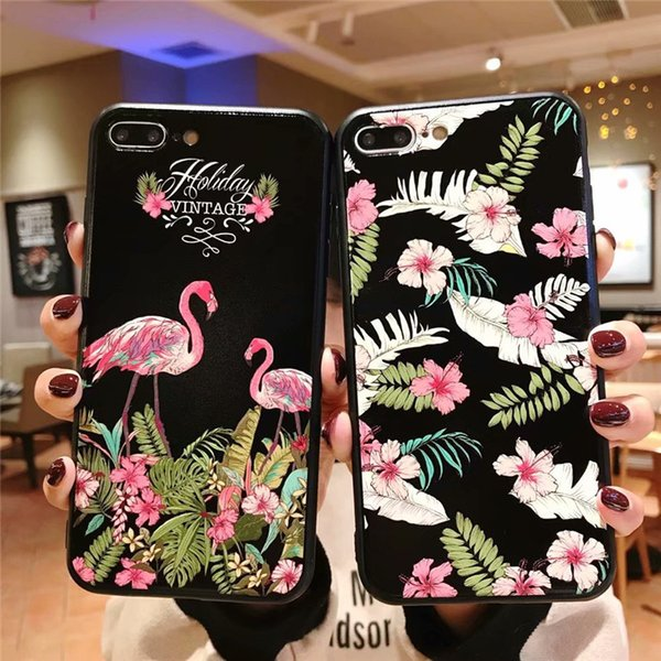 For iPhone X/XS MAX /XR 8/7/6 plus for Girls Mobile Shell Flamingo Flower Women Clear Slim Shockproof Fashion Teenage Heart Protective Case
