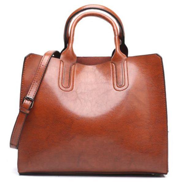 Waxed leather lady's bag 2019 new lady's handbag European and American fashion tote bag shoulder bag