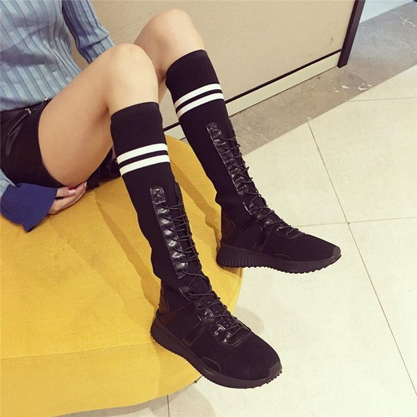 2019 Fashion Women Stretch Fabric Boots Spring Casual Ladies Flat Bottom Boots Shoes Over The Knee Thigh High Suede Long