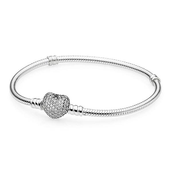 Authentic S925 Sterling Silver Women Bracelet Bangle Fit Lady Bead Charm Pendant Dangle Pave Heart Bracelet Clear Cz C19030201