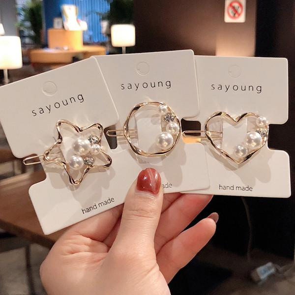 Ruoshui Korean Style Perle Haarnadeln Frau Haarspangen Geometrische Haarspangen Mädchen Haarschmuck Haargriff Headwear BB Clips