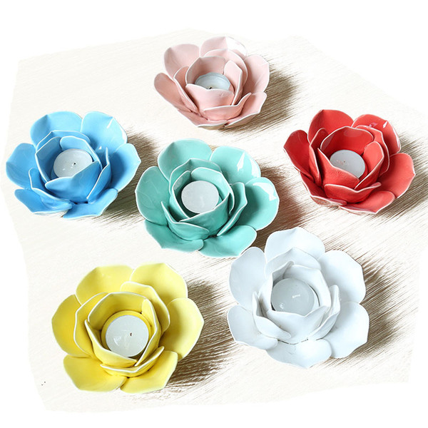 best selling Ceramic Lotus Flower Tealight Holder Handmade Flower Shape Candle Holder for Wedding Home Pink White Yellow Blue Cyan Red