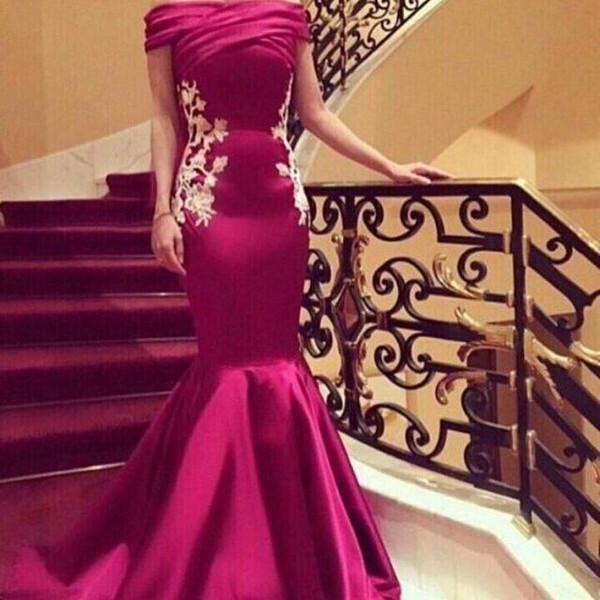 Arabische Kleider Abendgarderobe Schulterfrei Falten Applikationen Pailletten Meerjungfrau Abendkleider Langer Satin Reißverschluss Dubai Abaya Cocktail Abendkleid