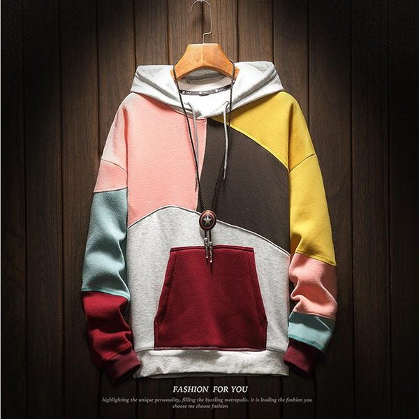 High Quality Men's Hoodies Sweatshirts Plus Size Patchwork Contrasted Color Casual Hooded Shirt Men Pullover Hip Hop Street Wear
