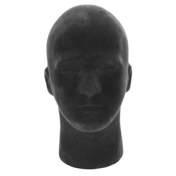 1 UNID Maniquí Modelo de Cabeza de Espuma Macho Negro Peluca Hacer Styling Sombrero Gafas Auriculares Soporte de Exhibición Hombre Negro Modelo de Cabeza de Espuma
