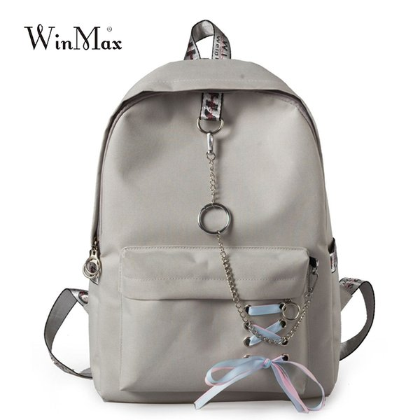 2018 Solid Backpack Girl School Bag For Teenage College Wind Women Schoolbag High Student Bag Black Canvas Chain Bundle Backpack J190427