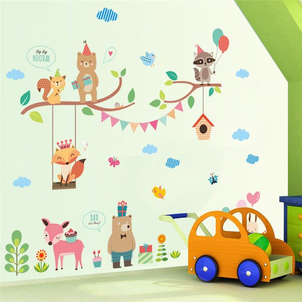 Forest Jungle Wild Animals Wall Sticker For Kids Rooms Lion Bear Ballon Wall Decal Mural Shop Store Window Home Decor New Year Gift