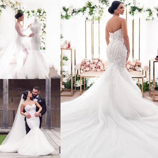 2019 Nuevos vestidos de novia de sirena de lujo Perlas Apliques de encaje Novio Vestido de novia de talla grande Sweep Train Country Boho Vestidos de novia