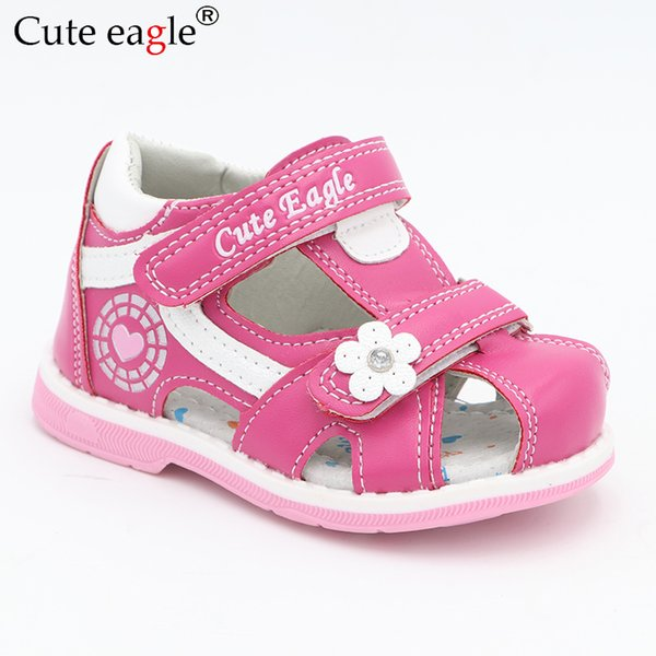 Cute Eagle Summer Girls Orthopedic Sandals Pu Leather Toddler Kids Shoes For Girls Closed Toe Baby Flat Shoes Eur 20-30 New 2019 Y19051303