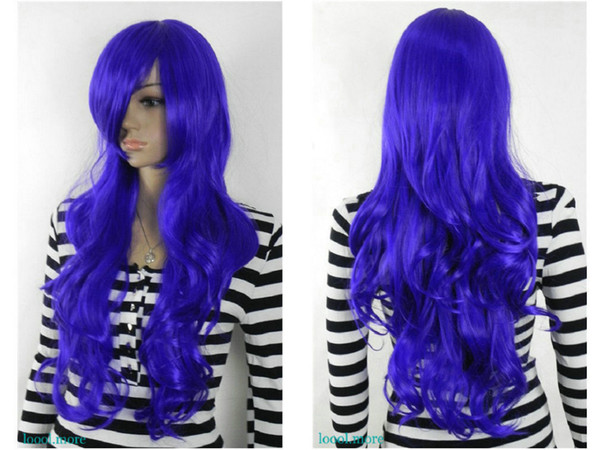 shun wig.02255 Fastshipping Purple-Blue Long Wavy Cosplay Anime party Synthetic Wig