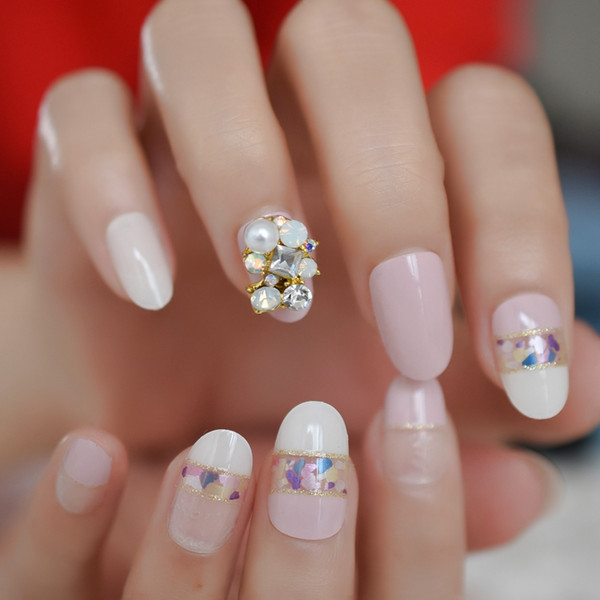 3D Luxe Gems Nude Pink French False Nails Tips Full Cover Artificial Gold Glitter Press on Fake Finger Nail Art Pre Back Glue