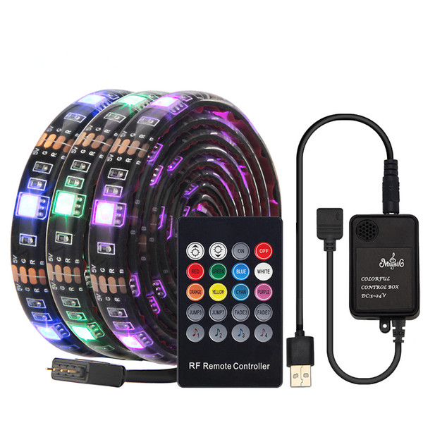 USB LED Strip with RF Remote Music controller IP20/IP65 Waterproof Flexible Strip Lights 5050 RGB TV Background Lightgting