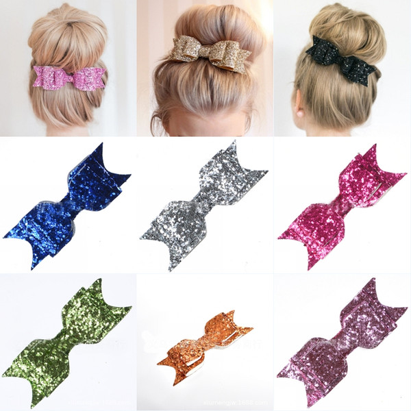 Christmas Gift 2019 Boutique Bow Hair Clips Sequin Barrette Women Headbands Baby Hairpin with Alligator Clip 16 Style Hair Accessories M042F