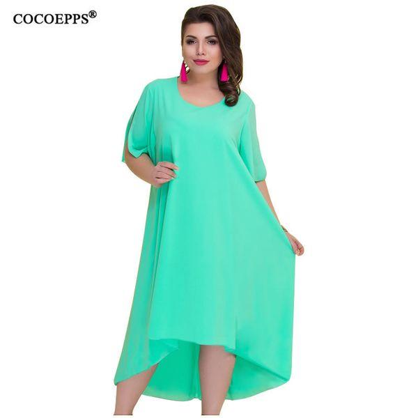 Cocoepps Casual Loose Plus Size Summer Dresses Women 2019 Irregular Long Dress Big Size Vintage Dress Large Sizes Vestidos 6xl MX190725