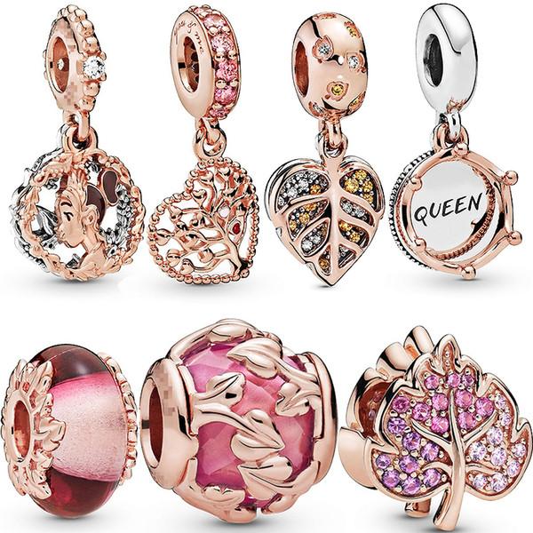 Nouveau 925 en argent sterling en or rose pétillant Pave pendentif feuille en forme des bijoux originaux perles bracelet de charme Pandora vente DIY Hot