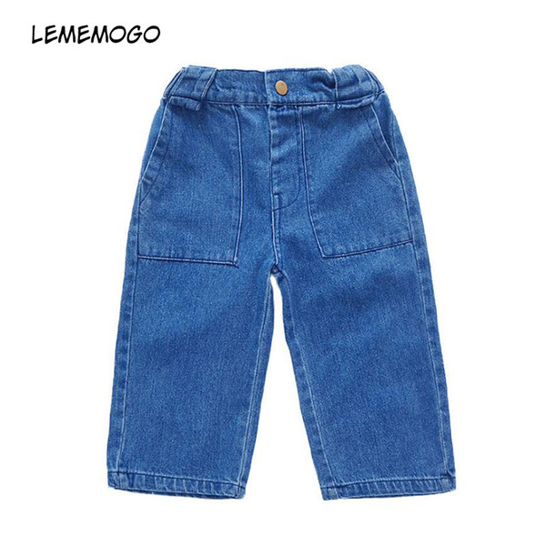 Lememogo New Baby Girls Jeans Casual Kids Cartoon Solid Elastic Waist Summer Children Loose Trousers Girl Boot Cut Jeans 1-5Year