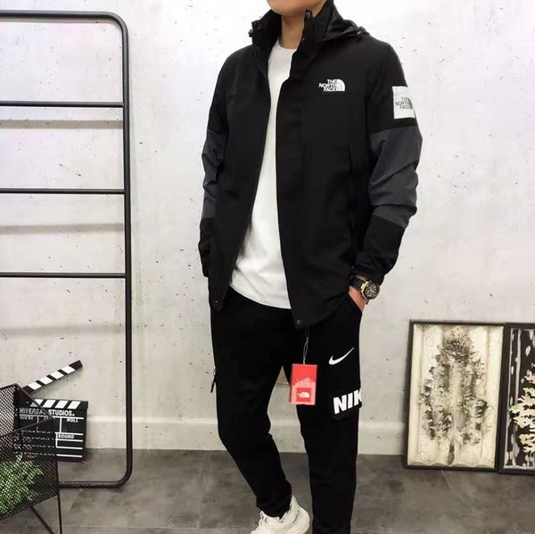 Casual chaqueta cazadora de los hombres NORTE masculino con capucha impermeable Streetwear básica de manga larga Ropa 1988