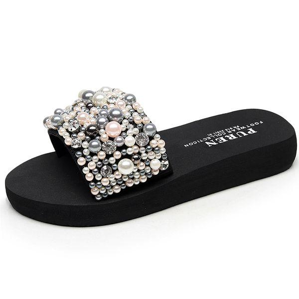 Beach Shoes Women 2018 Summer High Platform Sandals Wedge Flip Flops Slope Handmade Slippers Female Crystal Flower Shoes Zapat