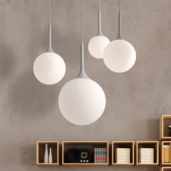 Modern Milk Globe Glass Shade Pendant Lights For Dining Room Bar Restaurant Decorative Kugellampe Hanging Pendant Lamp Fixtures