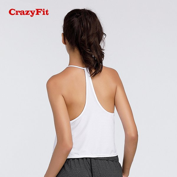 CrazyFit Sexy Open Back Yoga Tank Top Sport Women T-shirt Female Tops Sports Top Clothes For Fitness Clothing Shirt Sportswear