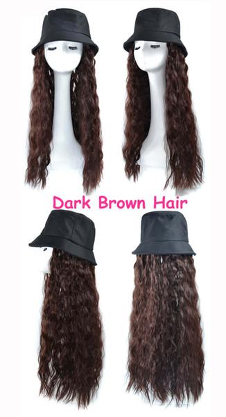 Fisherman's hat Dark brown hair