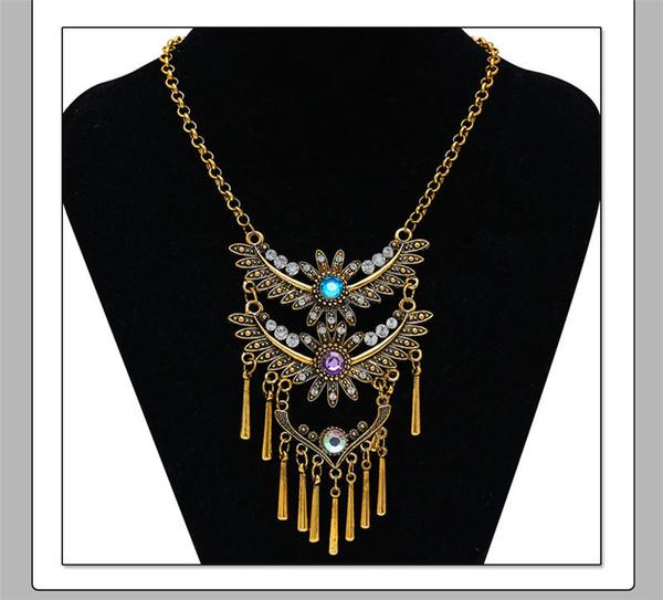 2019 New Women Gold Silver Long Choker Necklace Vintage Flower Wings Tassel Chain Necklace Bohemian Gypsy Tibet Vintage Ethnic Neckalce