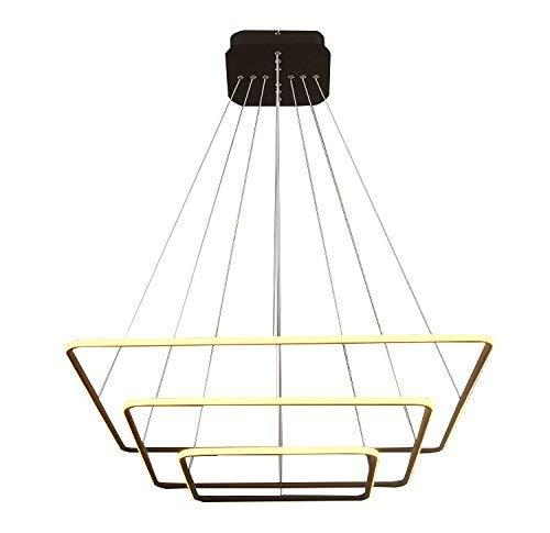 Modern Square Led Chandelier Adjustable Hanging Light Three Ring Collection Contemporary Ceiling Pendant Light