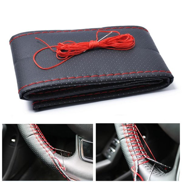 Car-styling Universal 38CM manual de costura completa cobertura poros Auto Car DIY Steering Wheel Cover Preto Acessórios Red Auto