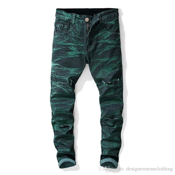 Straight Designer Mens Jeans Holes Stretch Tie Dye Long Mens Jeans Mid Waist Regular Distrressed Male Clothing