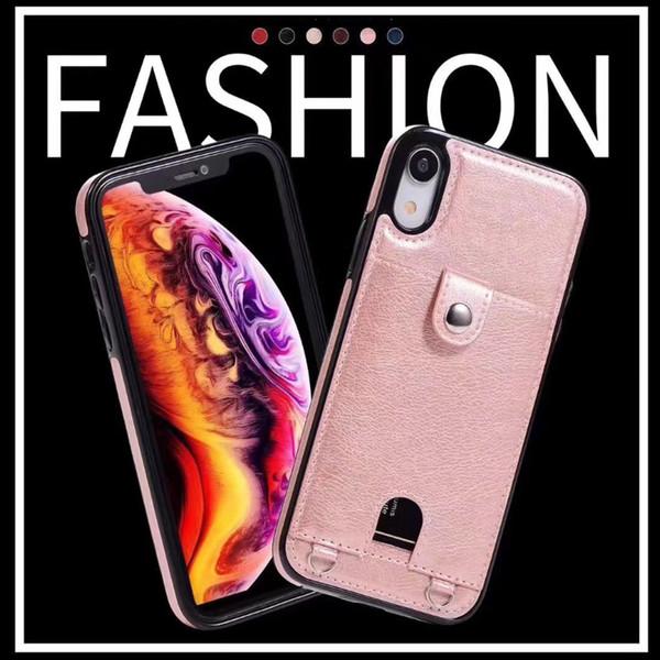 Neueste für iphone xs max xr 8 7 6 plus brieftasche handy case mit laryand für pu ledertaschen brieftasche rückseitige abdeckung tasche mit kartensteckplatz
