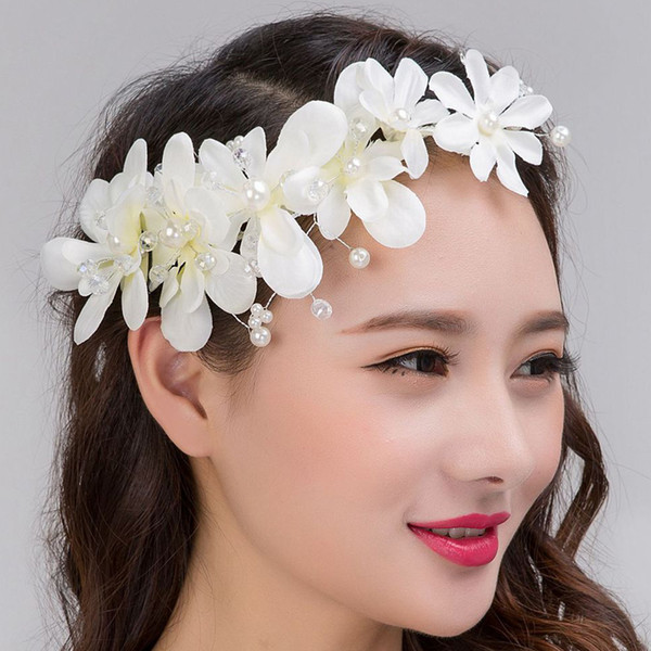 Flower red white headpiece women hair accessories pearl crystal  handmade wire headband romantic fashion jewelry