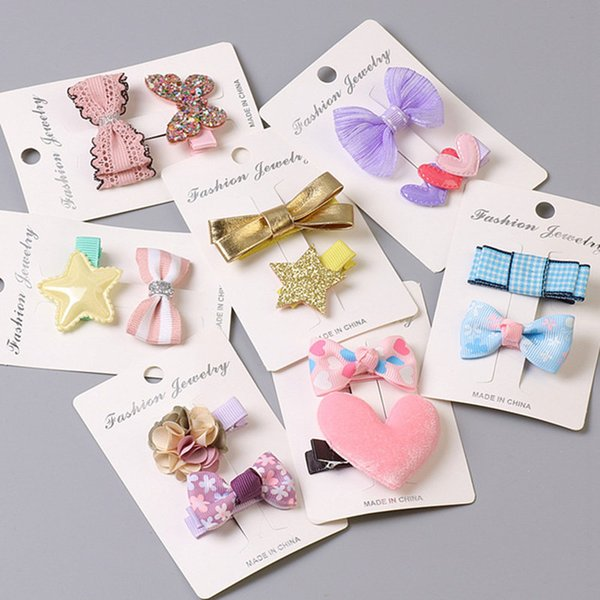 2 PCS Children New Clips Cute Crown Flowers bow Safety Barrettes BB Hairgrips Little Girls Gifts Kids Hair Accessories headdress