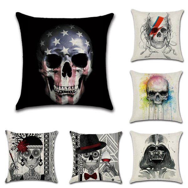 Page One Fashion Black and White Skull Pattern Cotton Linen Pillowcase Cushion Covers Home Decor Gifts Printed on One Side Pillow Case