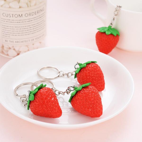 Fruit Porte-clés Fraise Porte-clés Mignon Porte-clés Pour Femmes Bijoux Filles Cadeau Des Enfants / Amis Cadeau
