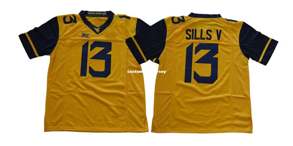 Cheap custom West Virginia Mountaineers #13 David Sills V College Football jersey Stitched Customize any number name MEN WOMEN YOUTH XS-5XL