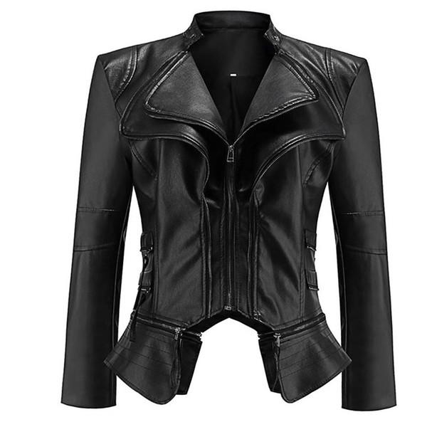 2018 Gothic faux leather Jacket Women Fashion Black faux leather coats Outerwear Jacket