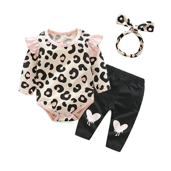Novo design outono crianças conjunto de roupas top de leopardo e calças compridas com algodão arco-nó hairband atacado