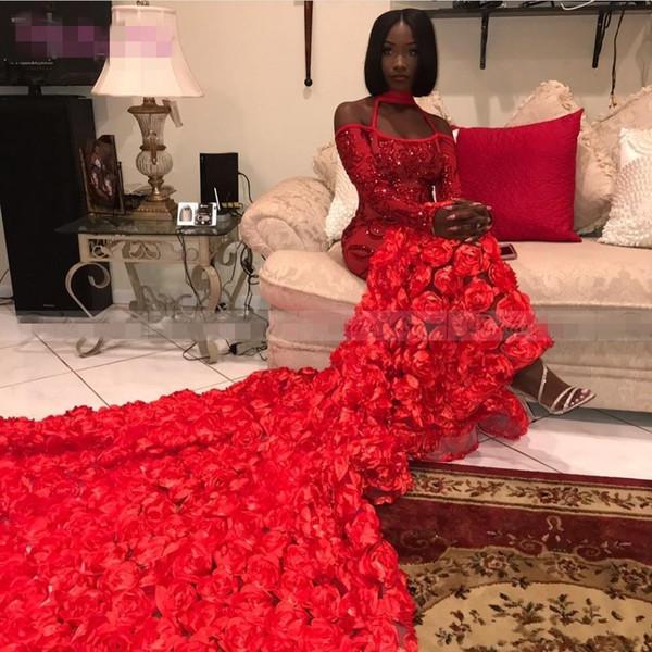 Sirena roja africana vestidos de baile 2019 Halter V cuello 3D flores Negro vestido de noche de las niñas de manga larga tren de barrido árabe dubai vestidos de fiesta