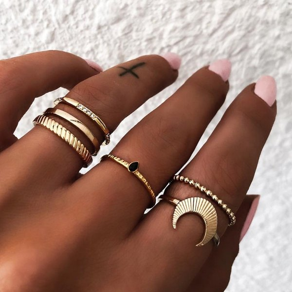 Tisonliz 5pcs/Lot Bohemia Simple Moon Water Drop Crystal Knuckle Ring Set For Women Engagement Midi Finger Rings Anillos Jewelry