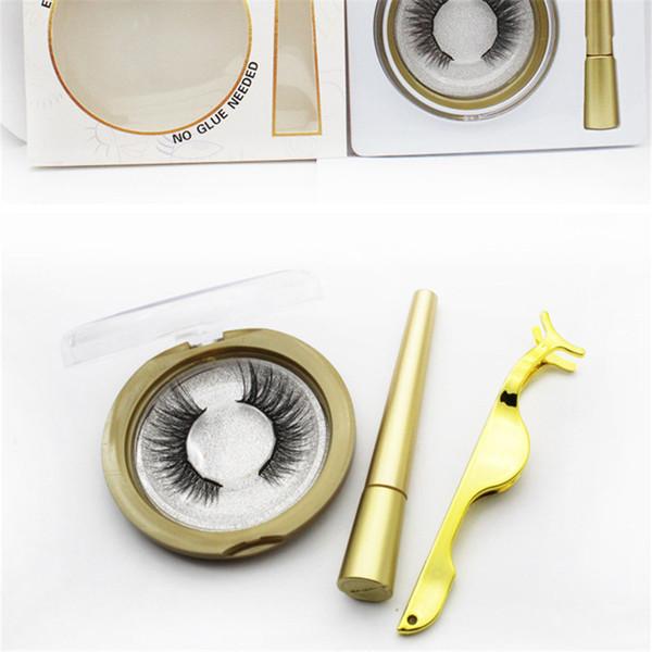 5style Magnetic Liquid Eyeliner & Magnetic False Eyelashes 3d mink Magnet False Eyelashes Set Glue Make Up Tools DHL free