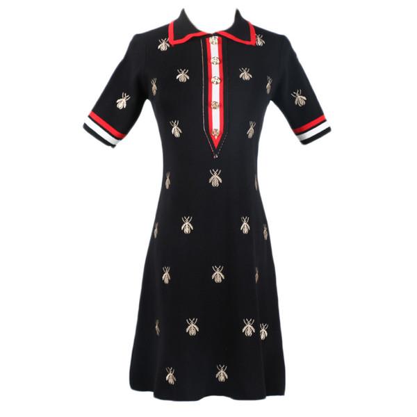 Senhoras Vestido De Verão Nova Gola Alta Abelha Bordada Cintura Alta Longo Fino Senhoras De Malha Vestido S-L Tamanho