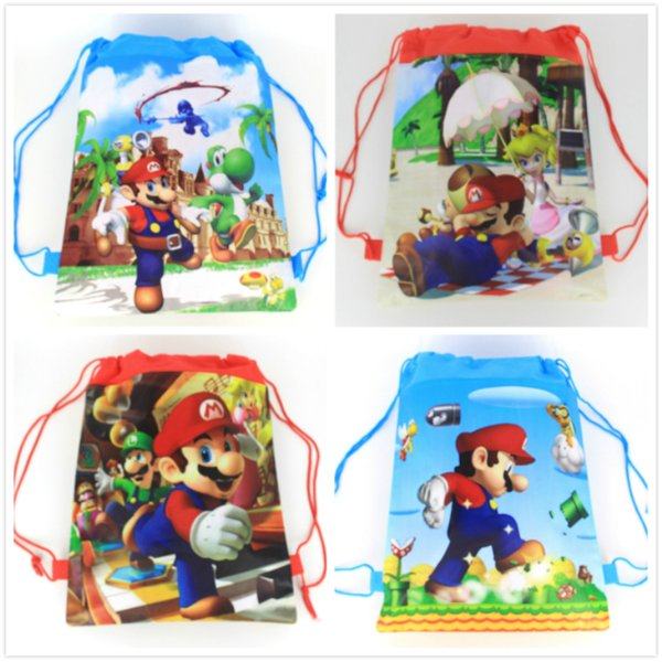 20pcs Super Mario theme non-woven fabrics drawstring backpack for kids Birthday Party Favor Gift bag 34*27cm