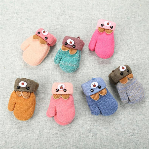 Fashion Winter Cartoon Pattern Knit Glove Cut Bear Ear Thick Warm gloves Jacquard Kids Mittens 7 Colors Available