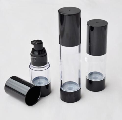 Livraison Gratuite 1000pcs / Lot 50MLClassic Noir Vide Pompe Sans Air Pompe Cosmétique Essence Huile Lotion Emballage Bouteille Rechargeable