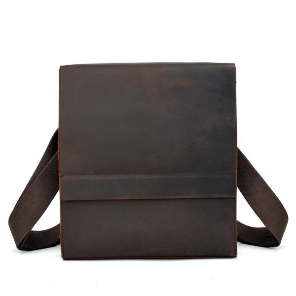 Luxus Echtes Leder Tasche für Männer Umhängetasche Lässig Mann Schulter Crossbody Handtasche Große Vintage Crazy Horse Hand Totes